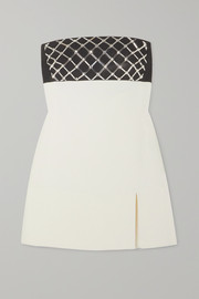 David Koma Strapless crystal-embellished cady mini dress