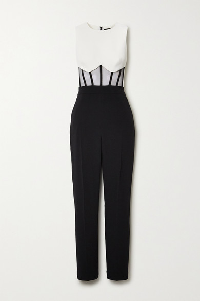 David Koma TWO-TONE TULLE AND CADY JUMPSUIT