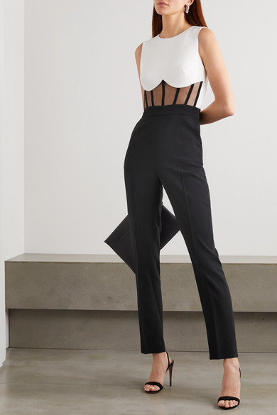 Two Tone Tulle And Cady Jumpsuit by David Koma