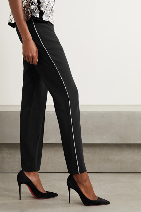 Crystal-embellished crepe tapered pants
