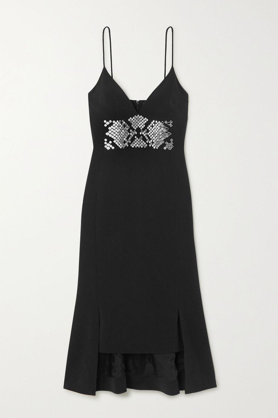 David Koma Asymmetric embellished crepe midi dress
