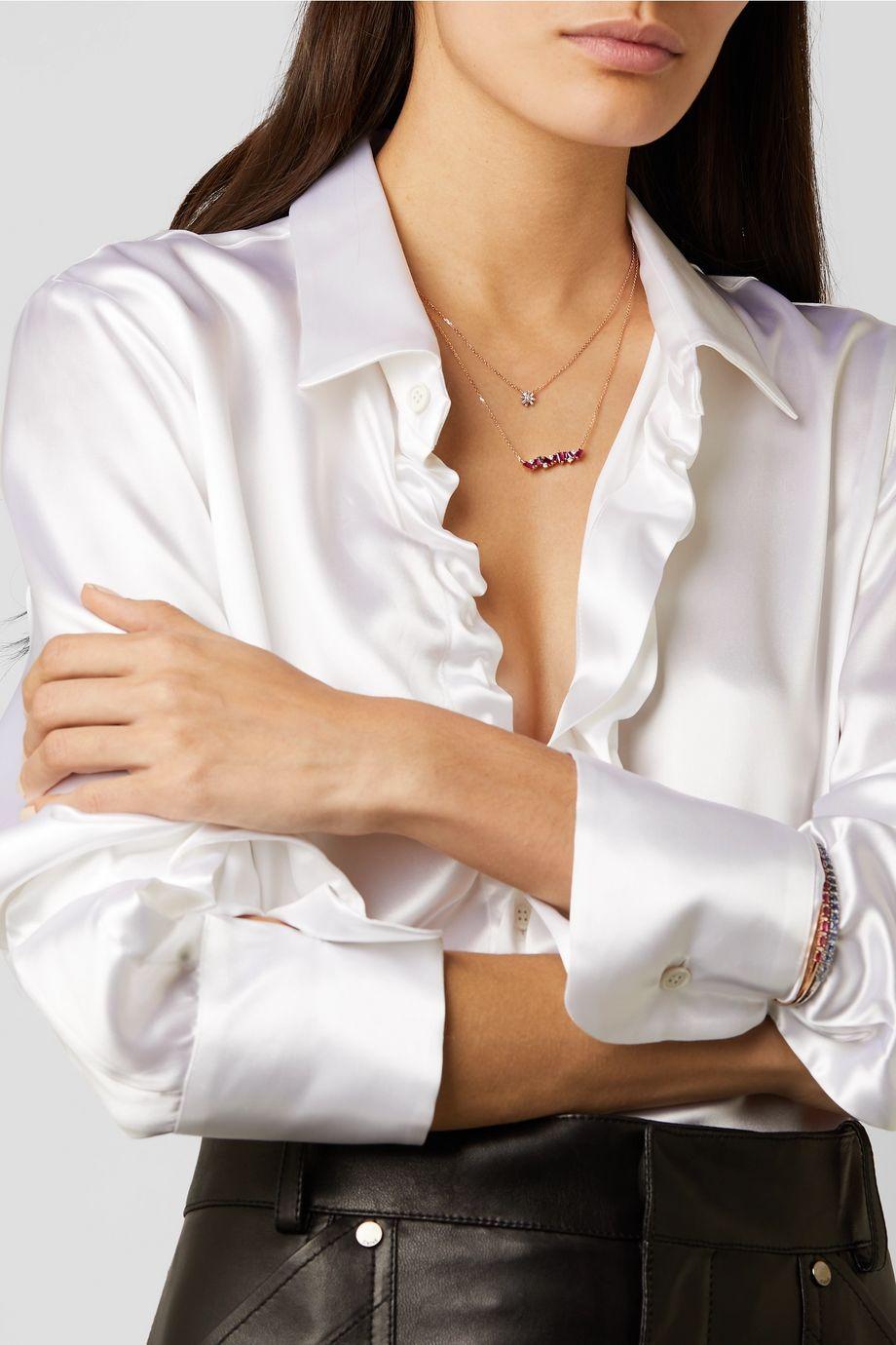 Suzanne Kalan 18-karat rose gold diamond necklace