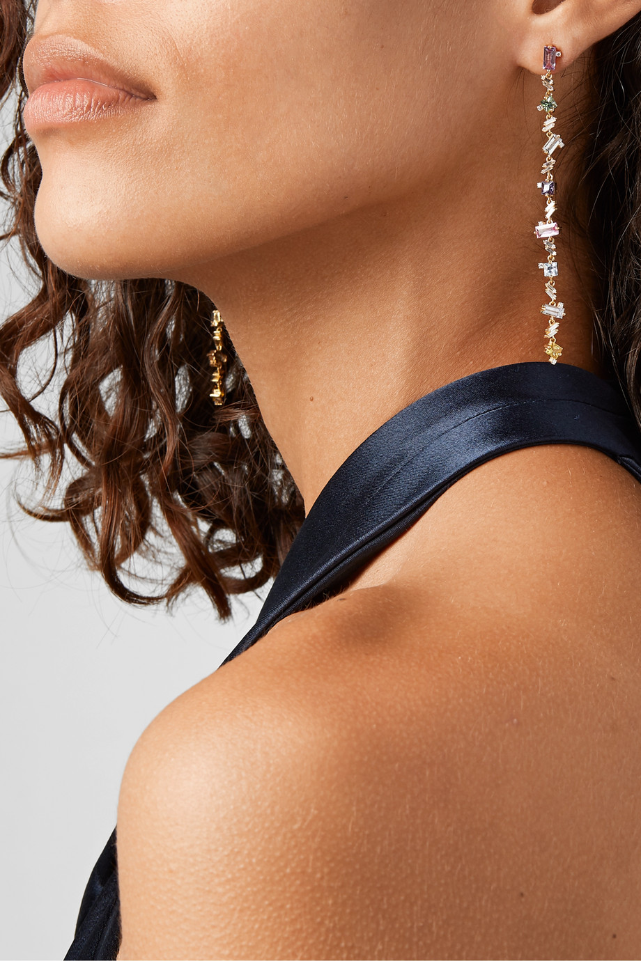 Suzanne Kalan 18-karat gold, diamond and sapphire earrings