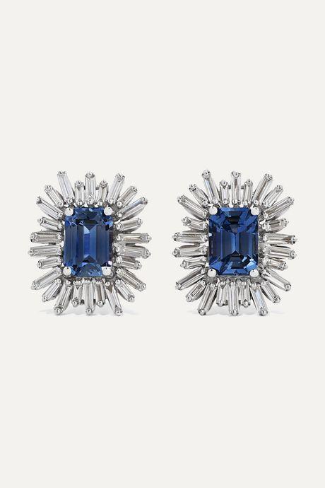 White gold 18-karat white gold, sapphire and diamond earrings   Suzanne Kalan L6zsj1