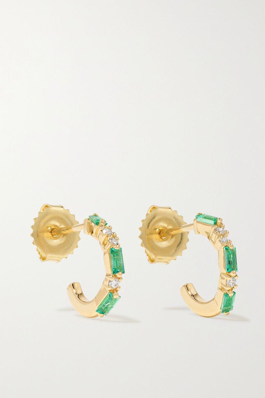 Suzanne Kalan Boucles d'oreilles en or 18 carats, émeraudes et diamants