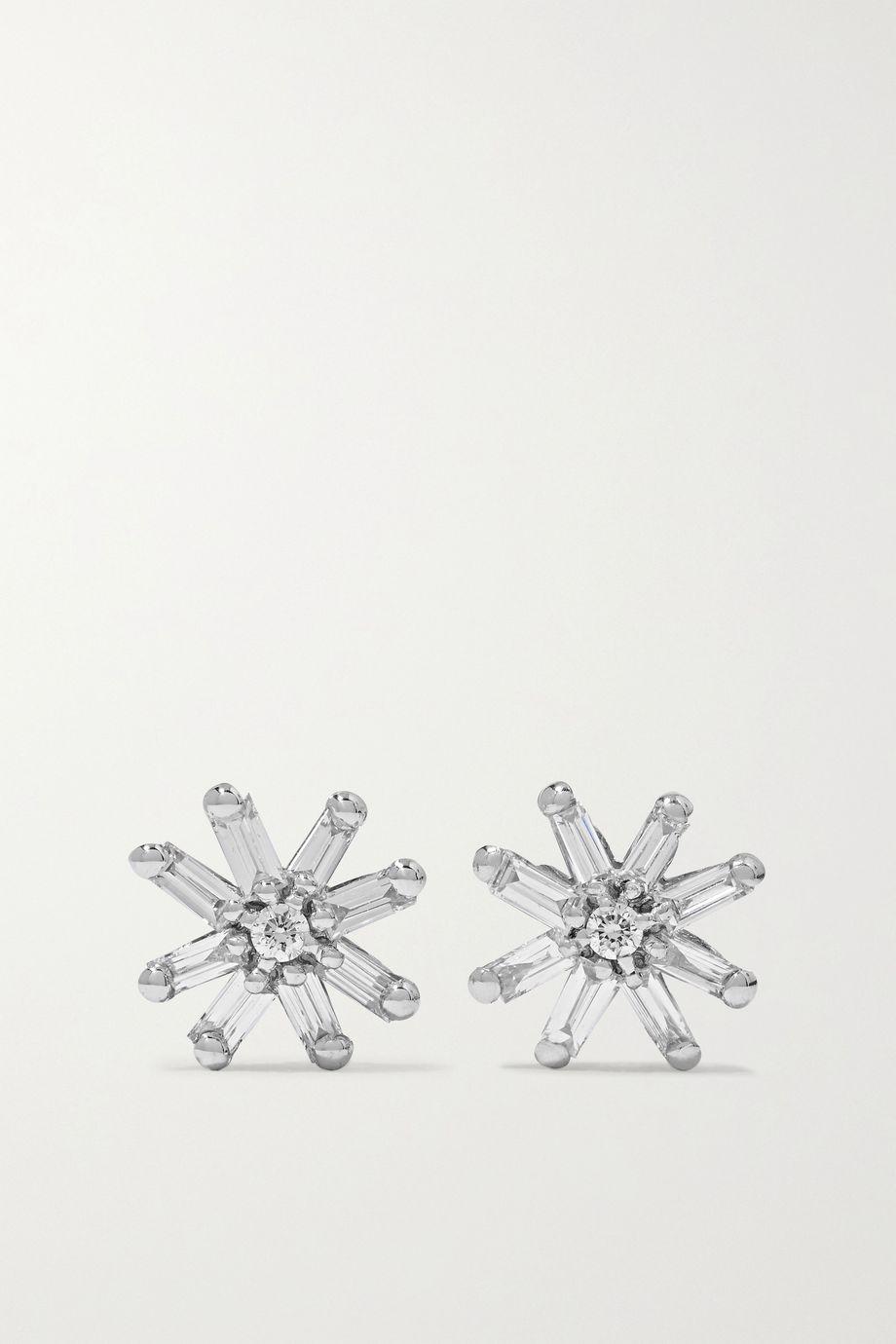 Suzanne Kalan 18-karat white gold diamond earrings