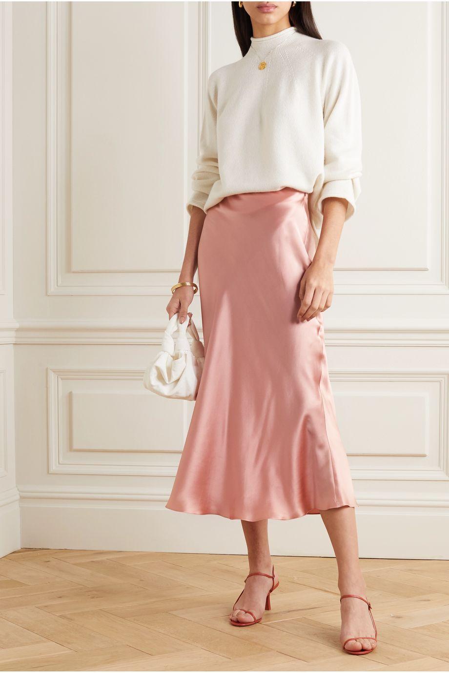 Le Kasha Silk-satin midi skirt