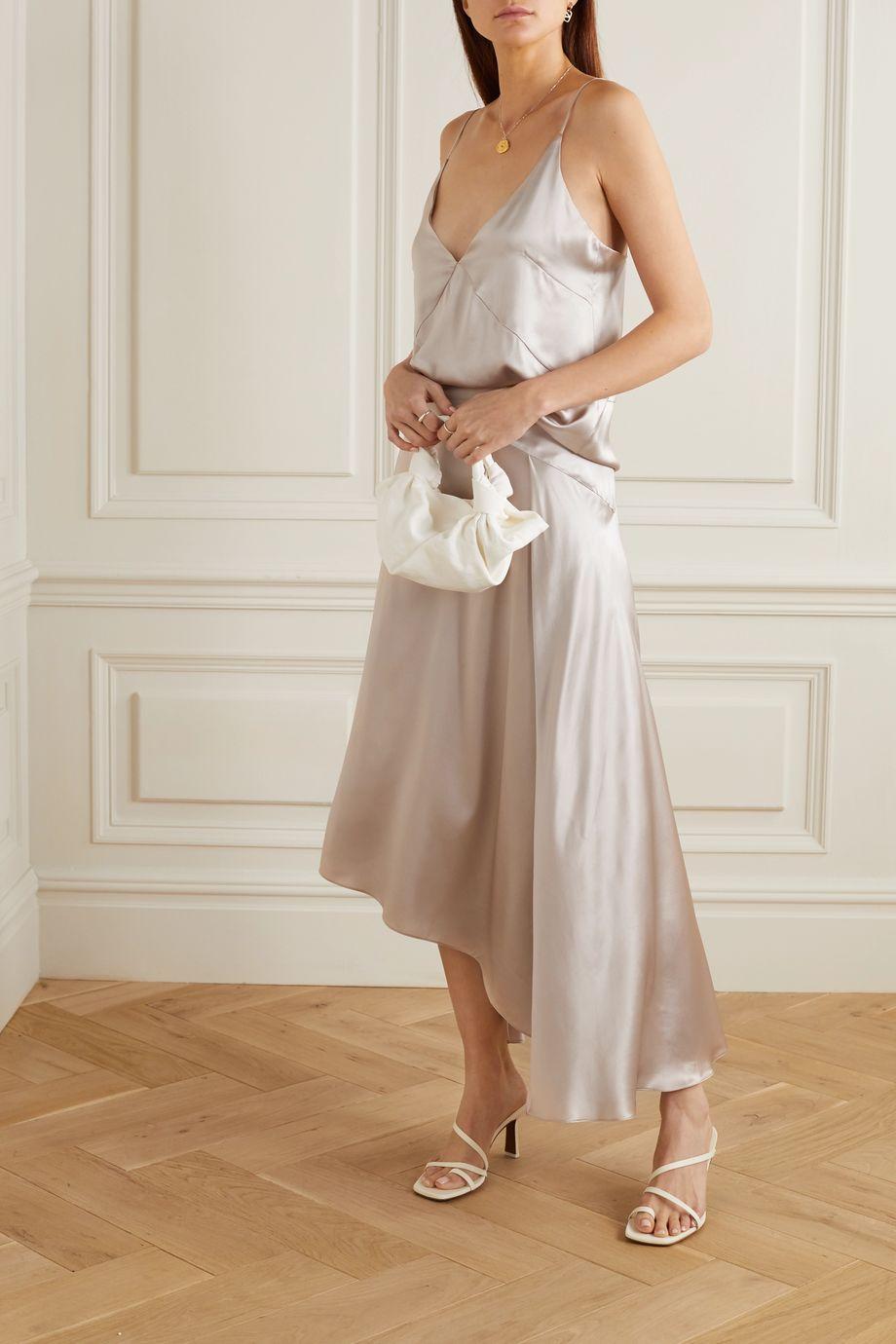 Le Kasha Asymmetric paneled silk-satin skirt