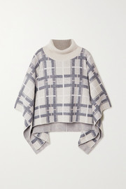 Argylle checked cashmere turtleneck poncho