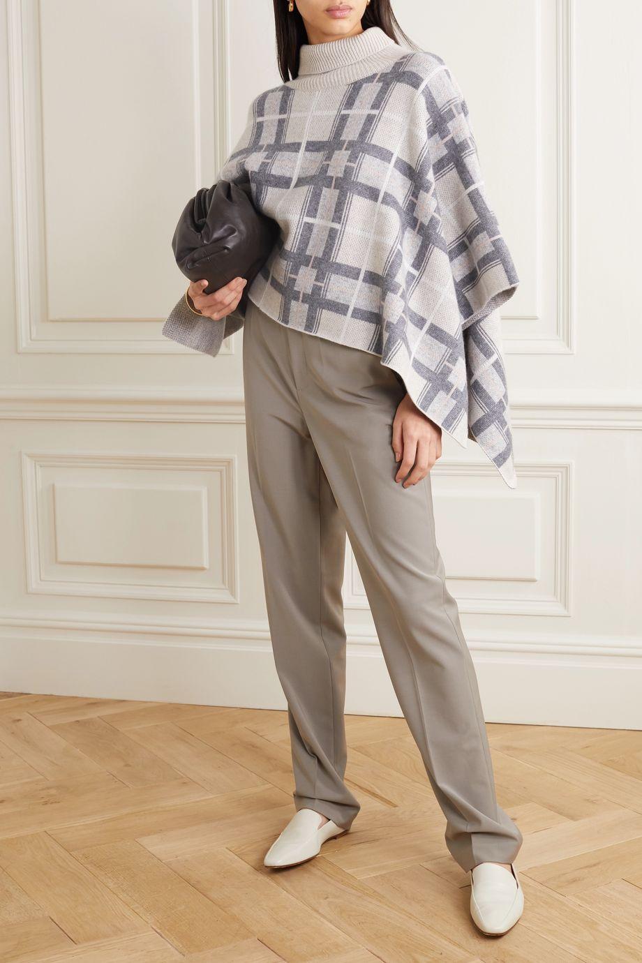 Le Kasha Argylle checked cashmere turtleneck poncho