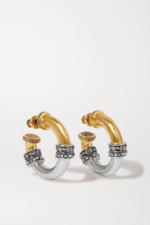 Alexander McQueen Gold- und silberfarbene Creolen mit Kristallen