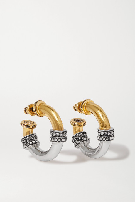 Gold Gold and silver-tone crystal hoop earrings | Alexander McQueen Jyfba0