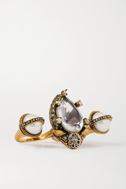 Alexander McQueen Gold-tone crystal and faux pearl two-finger ring