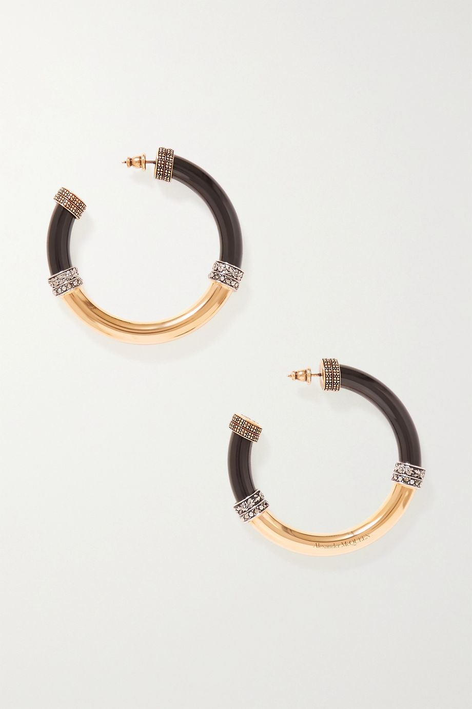 Alexander McQueen Gold-tone and resin crystal hoop earrings