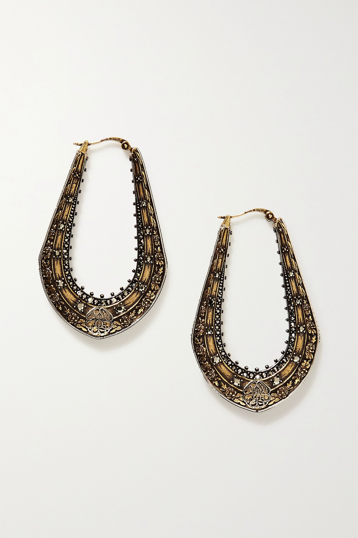 Alexander McQueen Boucles d'oreilles en métal doré, argenté et cristaux Creole