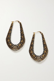 Alexander McQueen Creole gold- and silver-tone crystal earrings