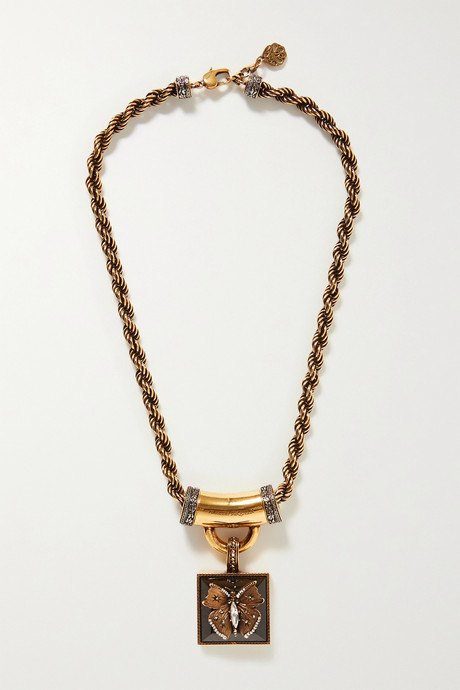 Gold Gold-tone, resin and crystal necklace   Alexander McQueen COxX9q