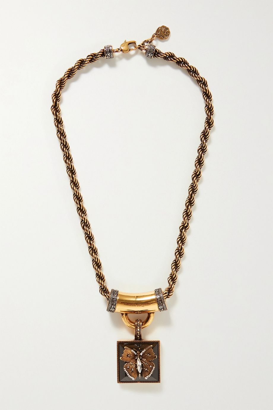 Alexander McQueen Gold-tone, resin and crystal necklace