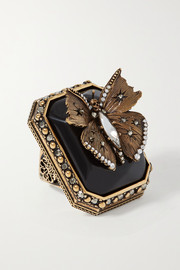 Alexander McQueen Gold-tone, resin, crystal and faux pearl ring