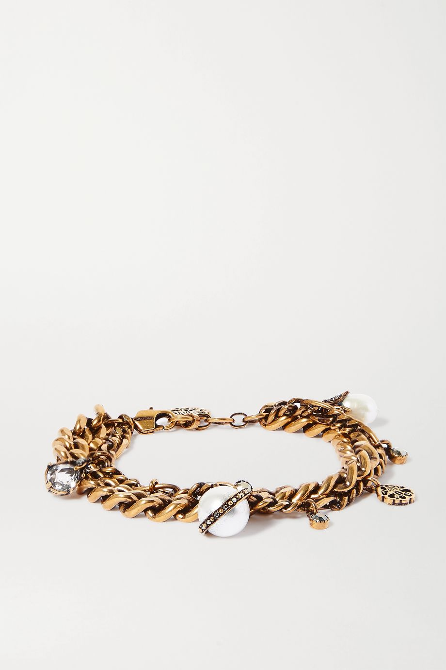 Alexander McQueen Crystal-embellished gold-tone and faux pearl charm bracelet