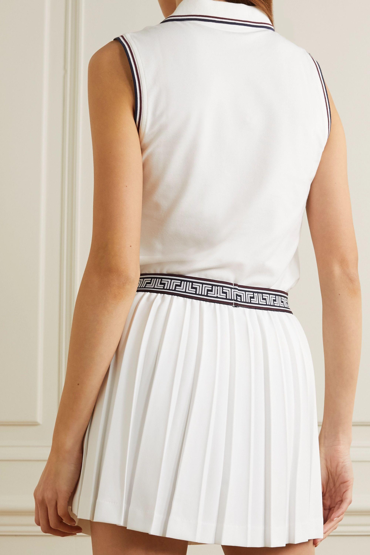 Tory Sport Appliquéd striped cotton-blend piqué top