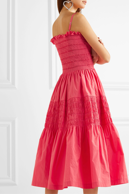 Molly Goddard Tiered shirred taffeta midi dress