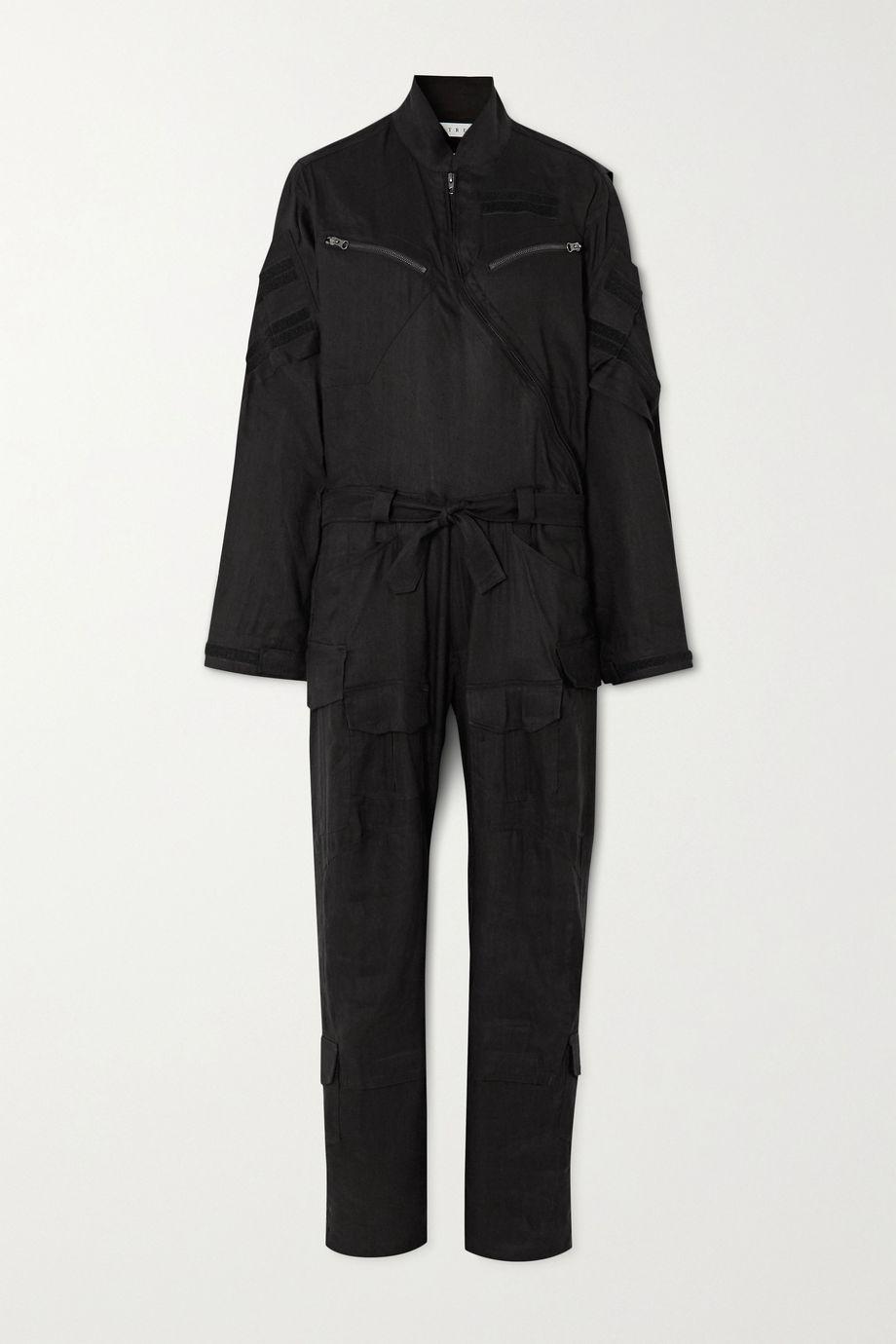 TRE by Natalie Ratabesi Belted linen-blend twill jumpsuit