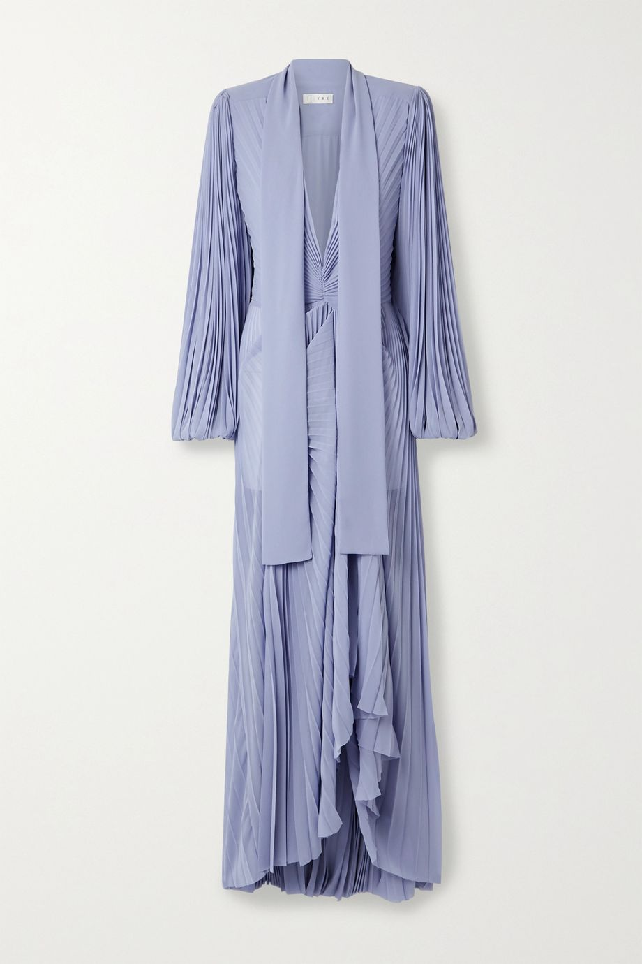 TRE by Natalie Ratabesi Olimpo pussy-bow draped pleated chiffon gown