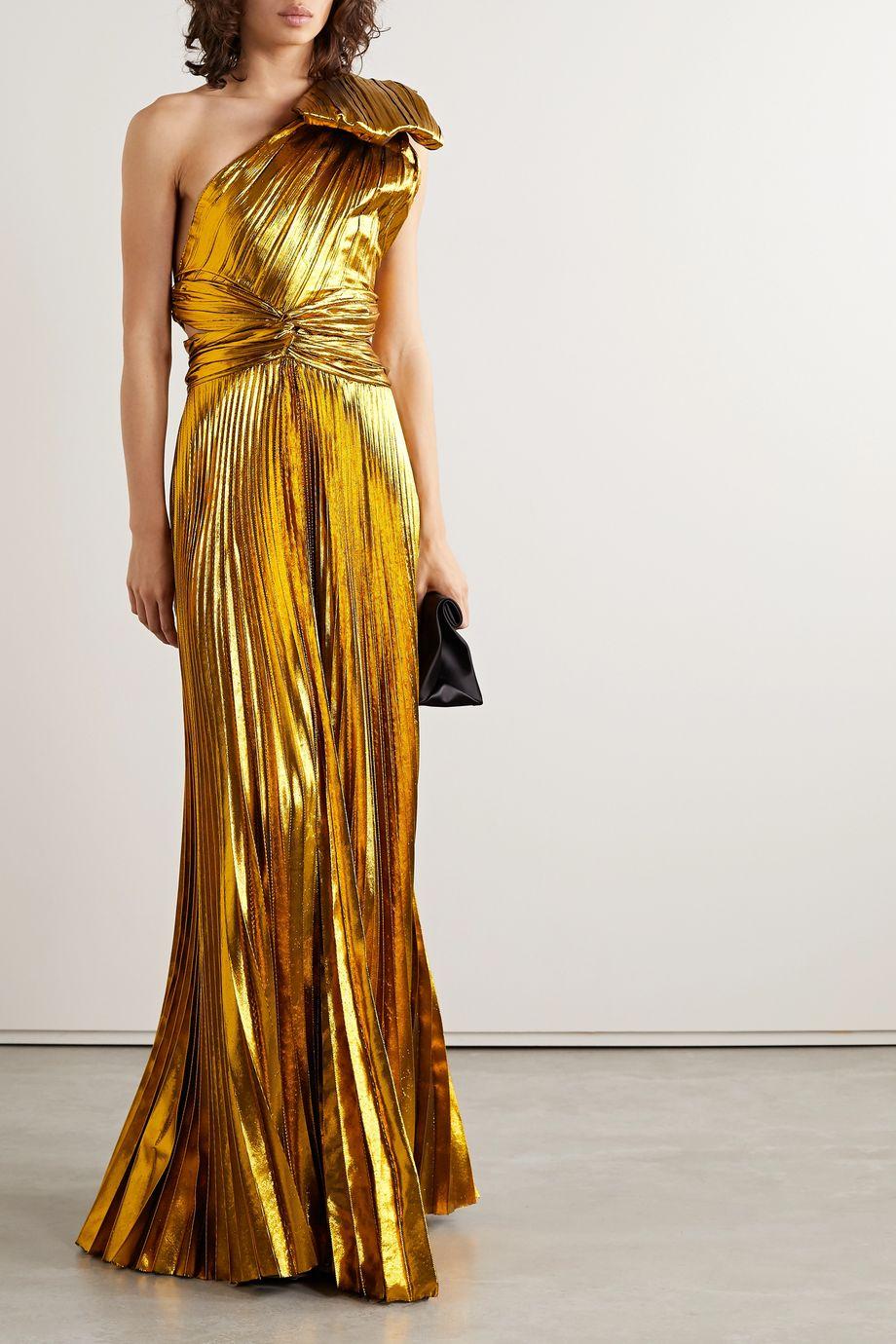 TRE by Natalie Ratabesi Bow-embellished one-shoulder plissé-lamé gown