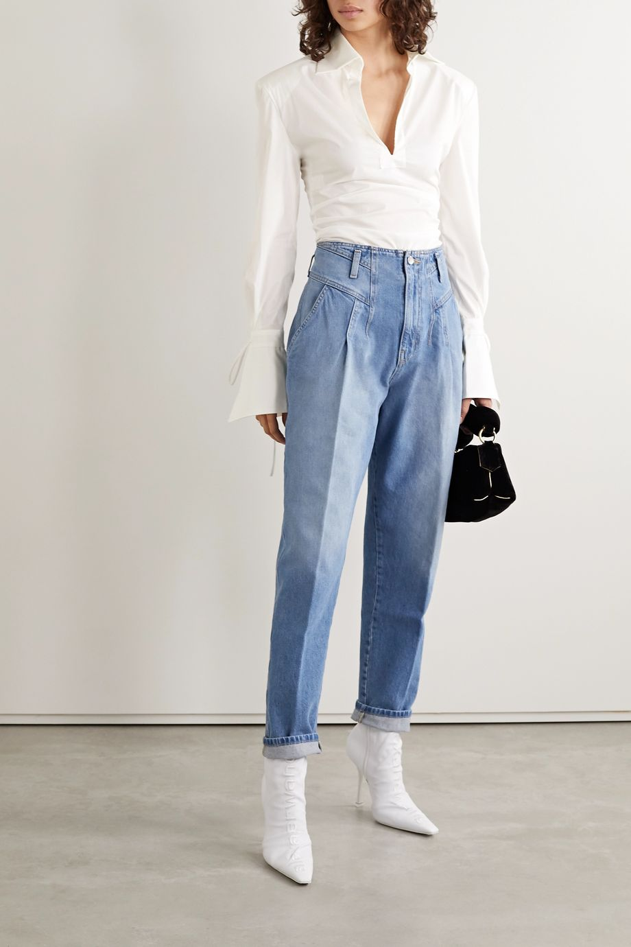 TRE by Natalie Ratabesi Tie-detailed ruched cotton-blend poplin thong bodysuit