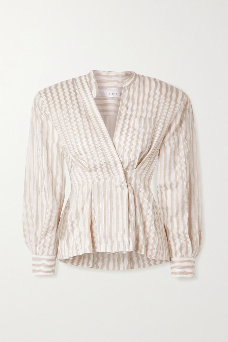 TRE by Natalie Ratabesi Striped cotton and linen-blend voile blouse