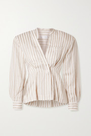 Striped cotton and linen-blend voile blouse
