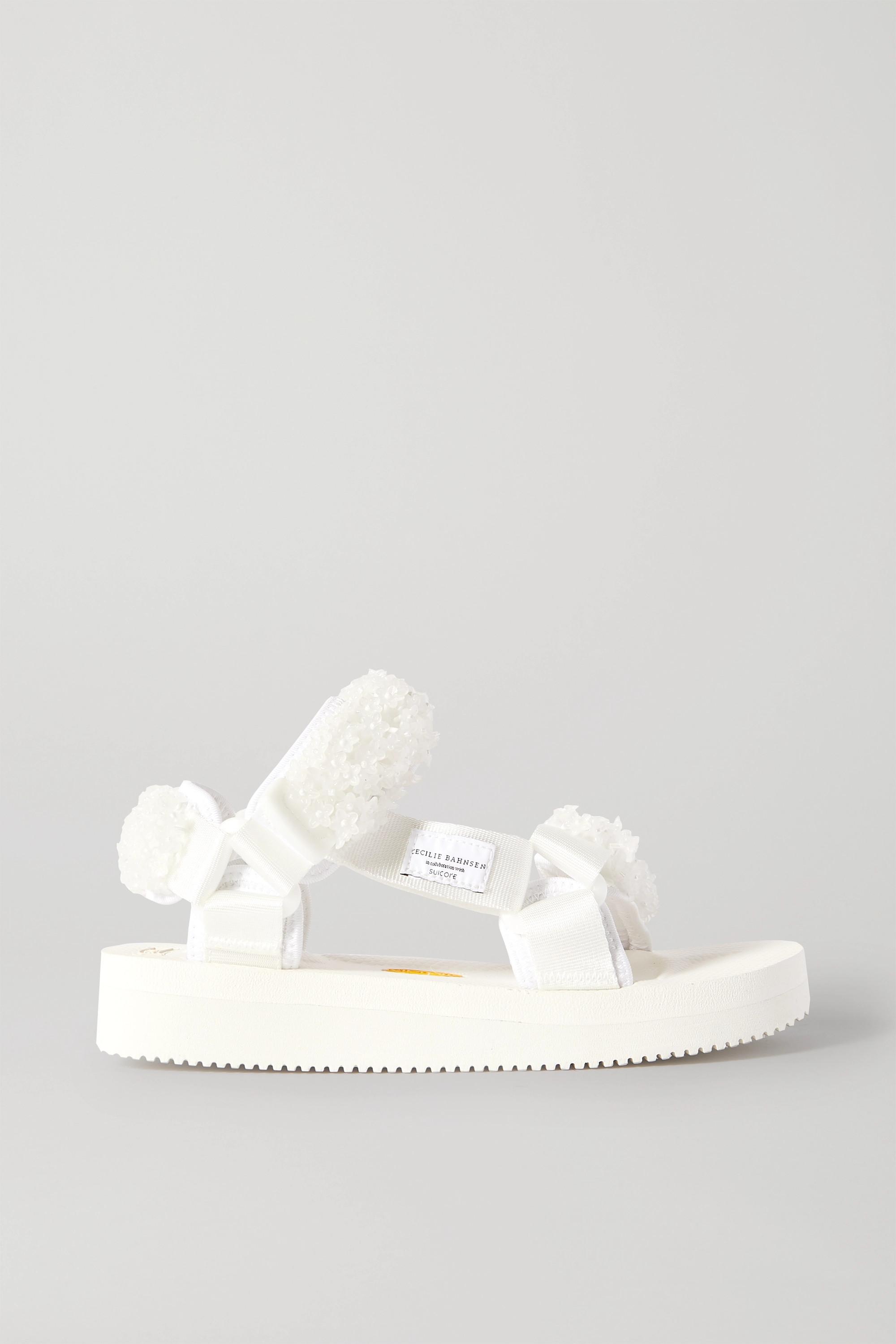 Cecilie Bahnsen + Suicoke Maria bead-embellished canvas sandals