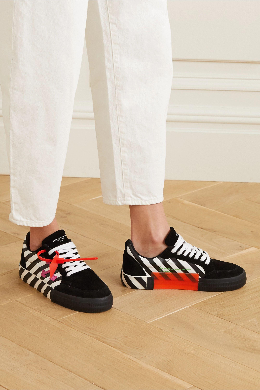 Off-White 条纹帆布绒面革运动鞋