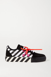 Striped canvas and suede sneakers