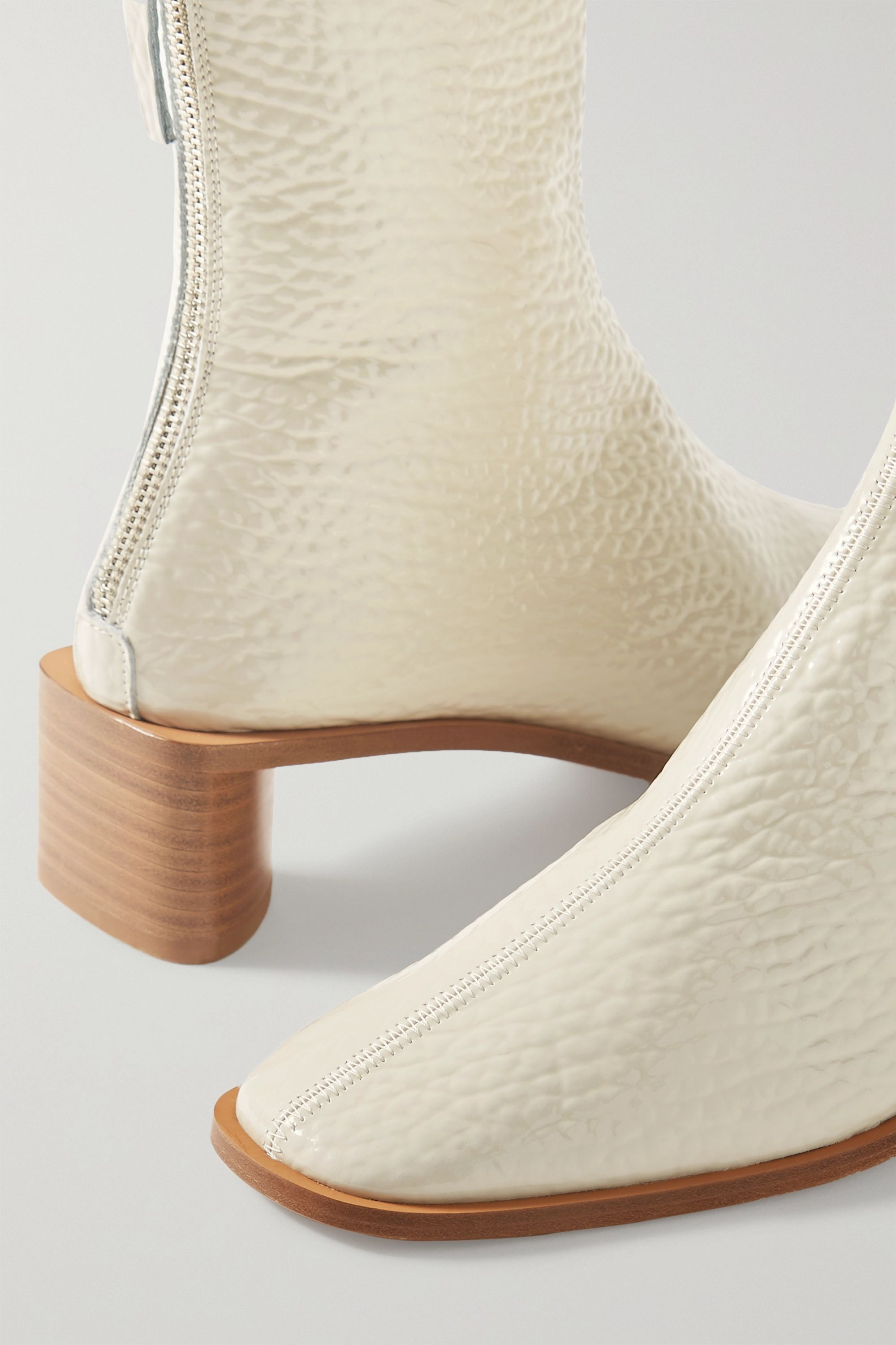 Acne Studios Textured patent-leather ankle boots