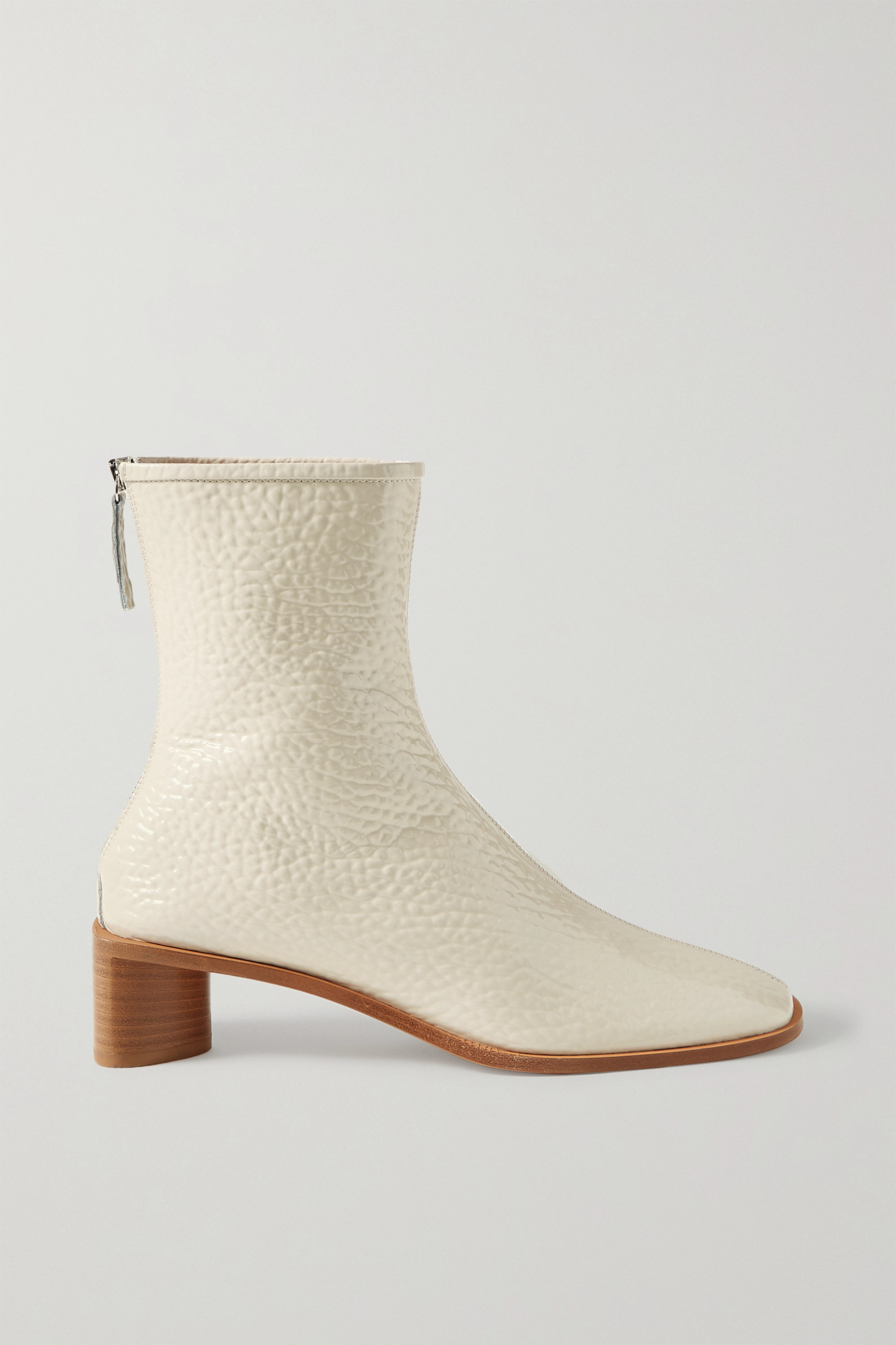 Off-white Textured patent-leather ankle