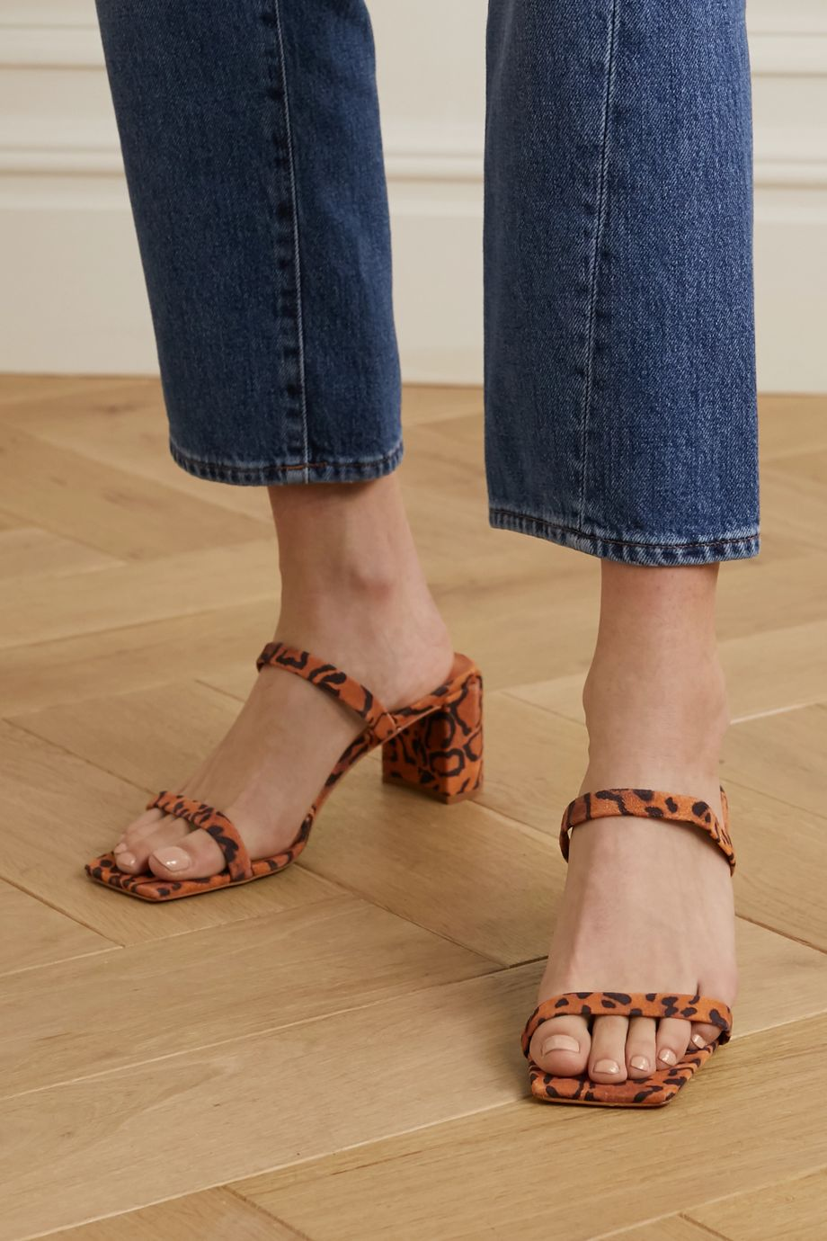 BY FAR Tanya leopard-print suede mules