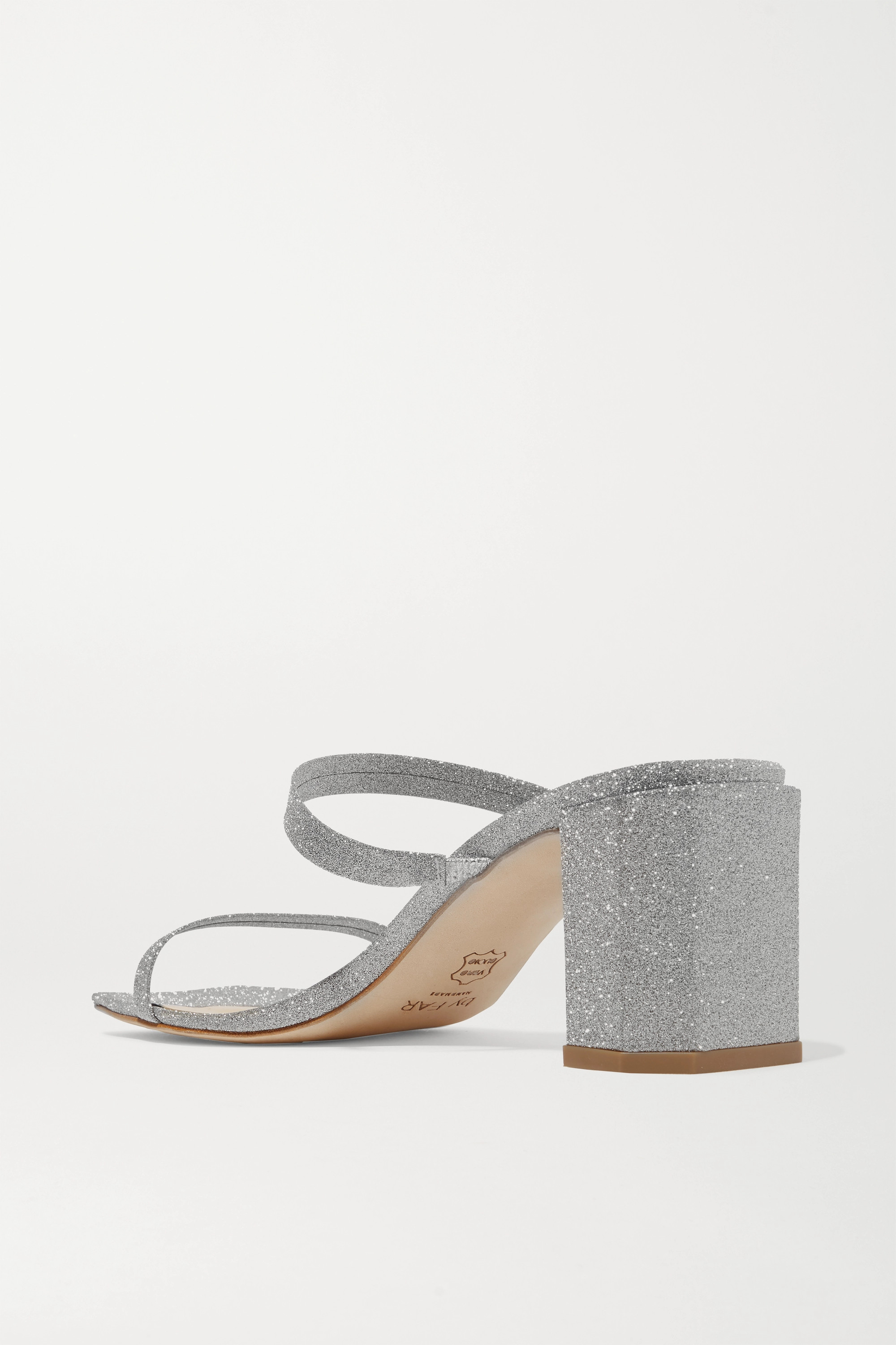 BY FAR Tanya glittered leather mules