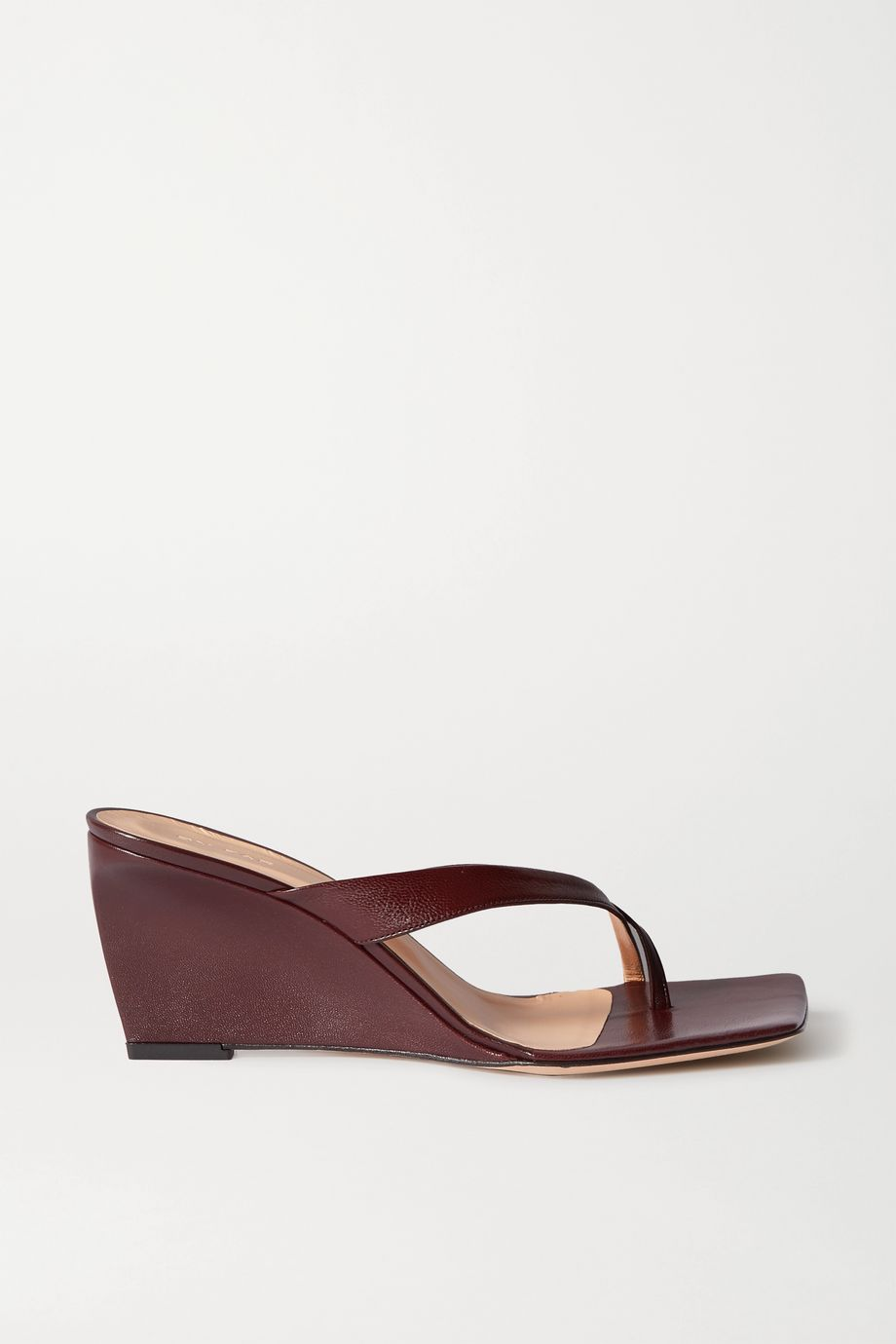 BY FAR Theresa leather wedge mules