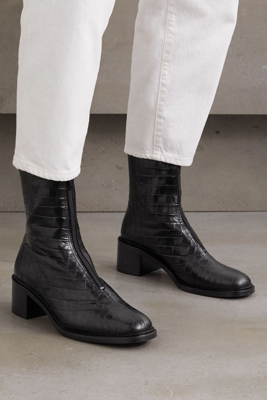 BY FAR Bruna croc-effect leather ankle boots