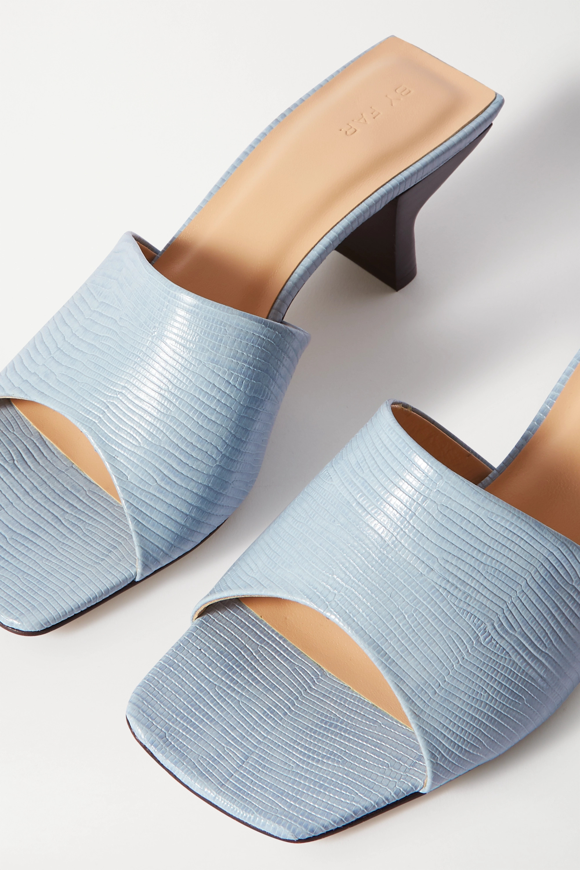BY FAR Lily lizard-effect leather mules