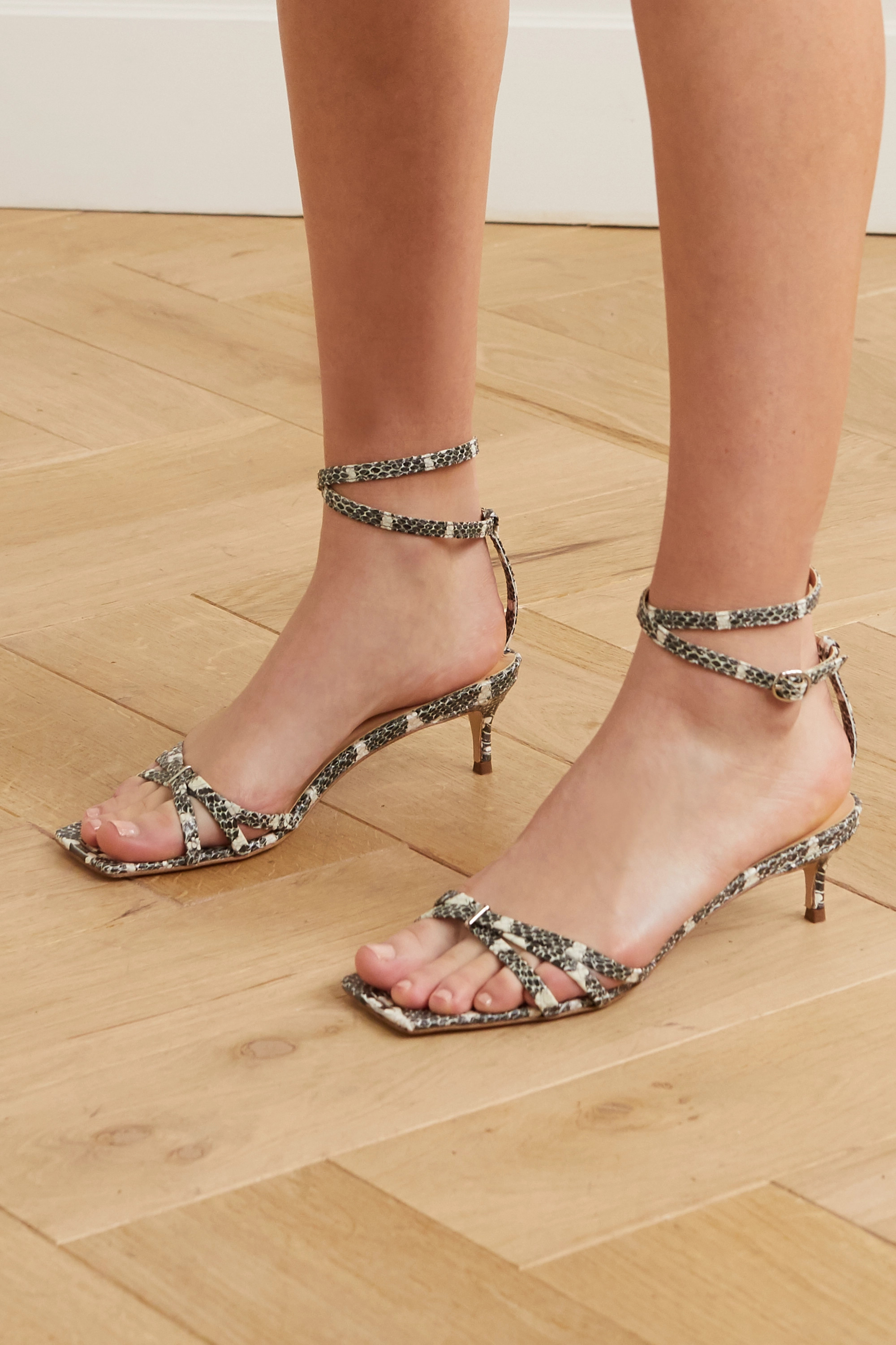 BY FAR Kaia snake-effect leather sandals