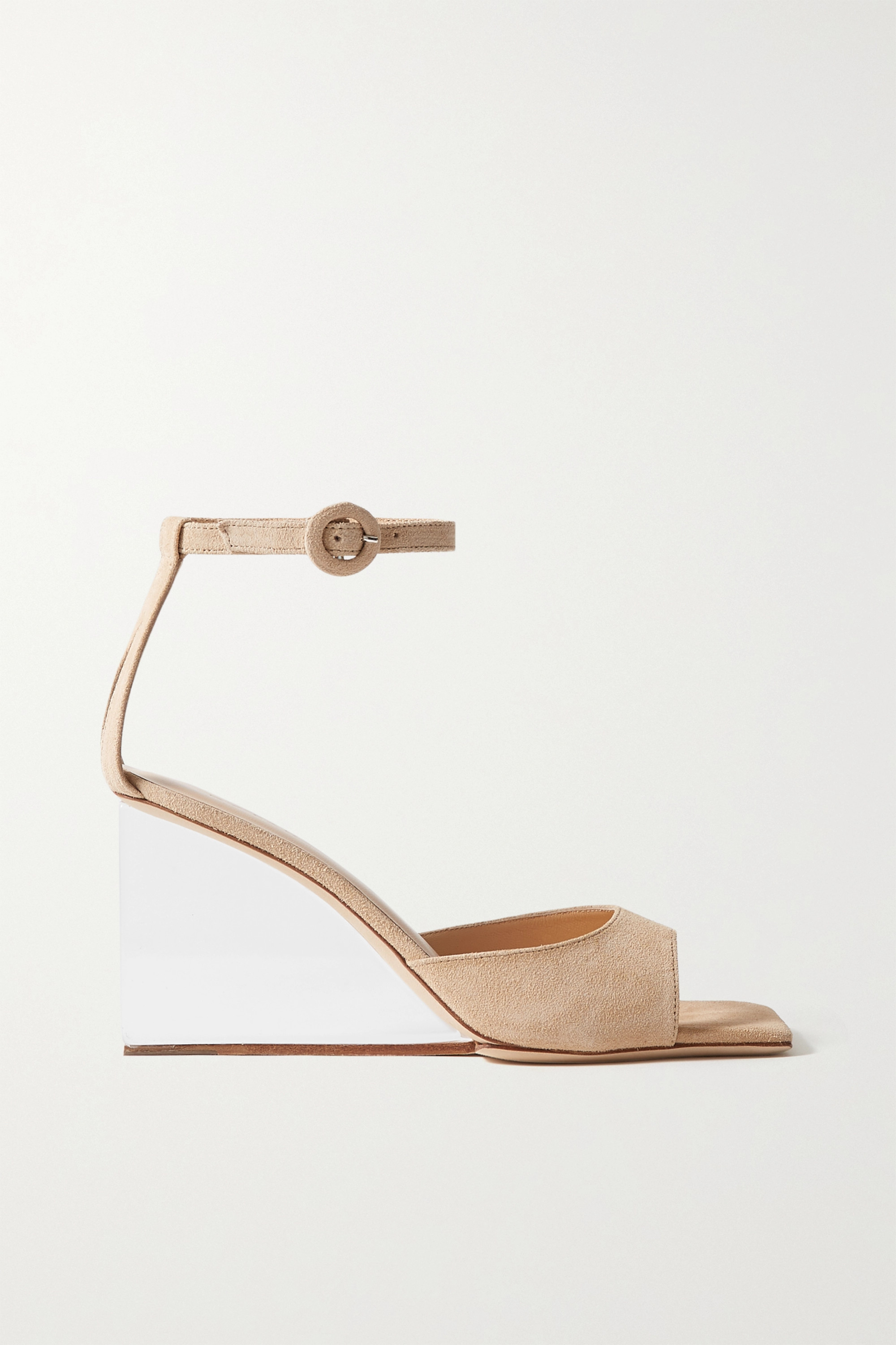 BY FAR Dima suede wedge sandals