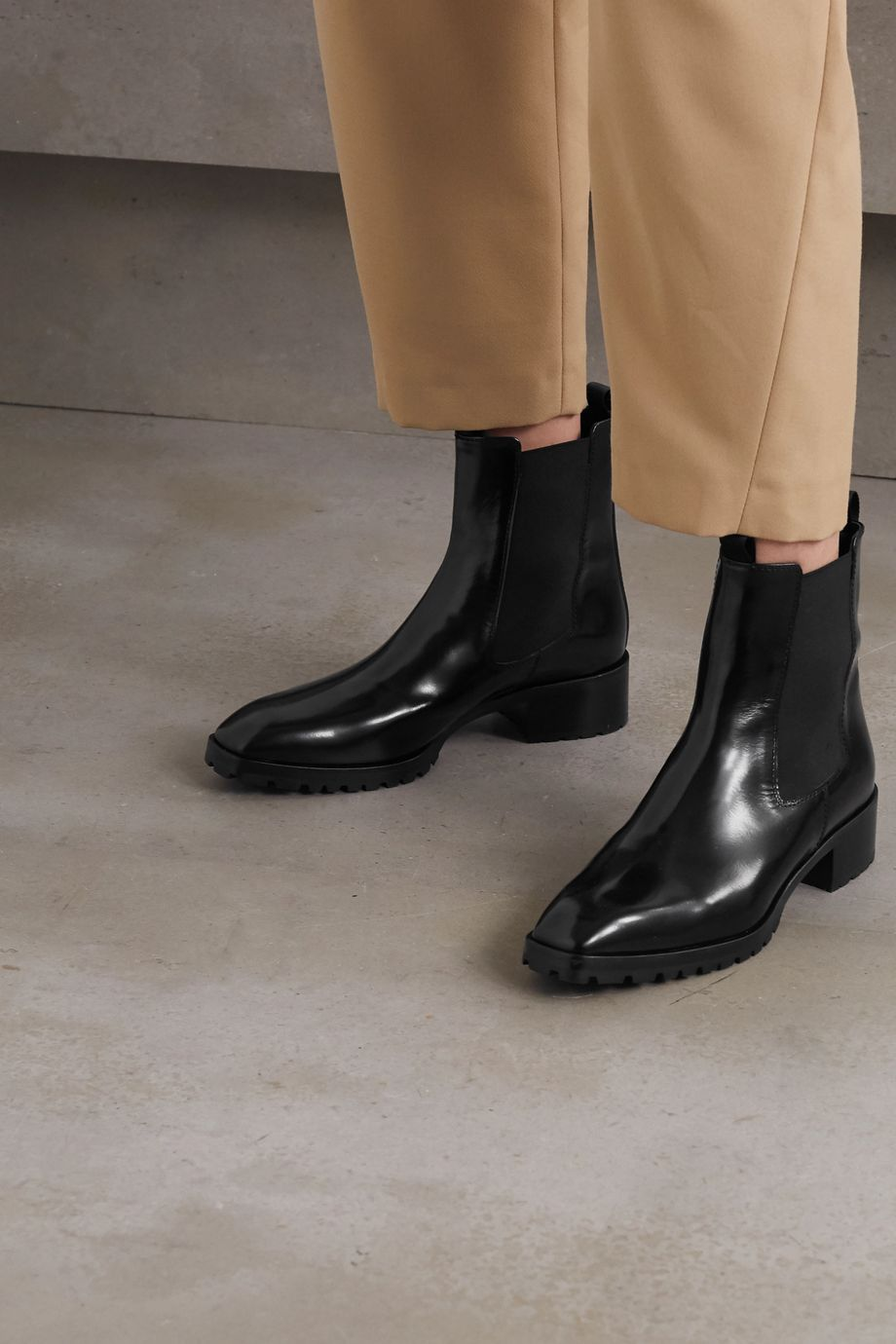 aeydē Karlo patent-leather Chelsea boots