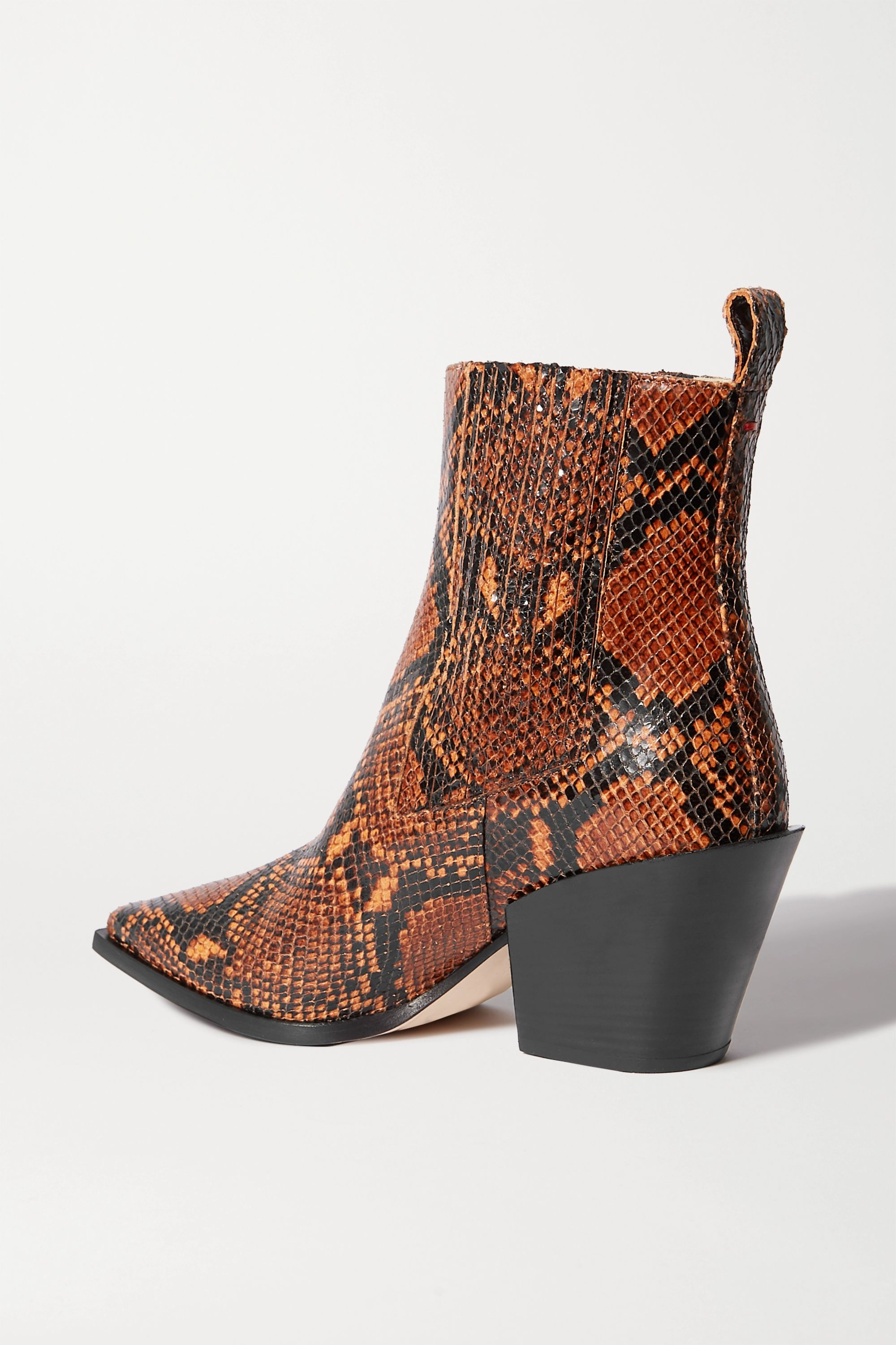 aeydē Kate snake-effect leather ankle boots