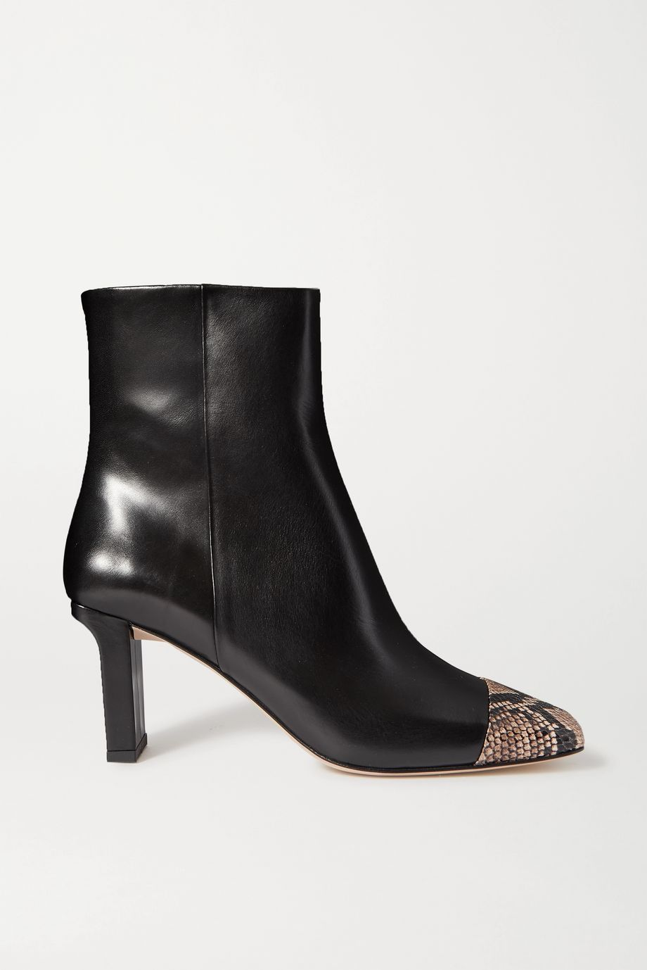 aeydē Belle snake-effect and smooth leather ankle boots