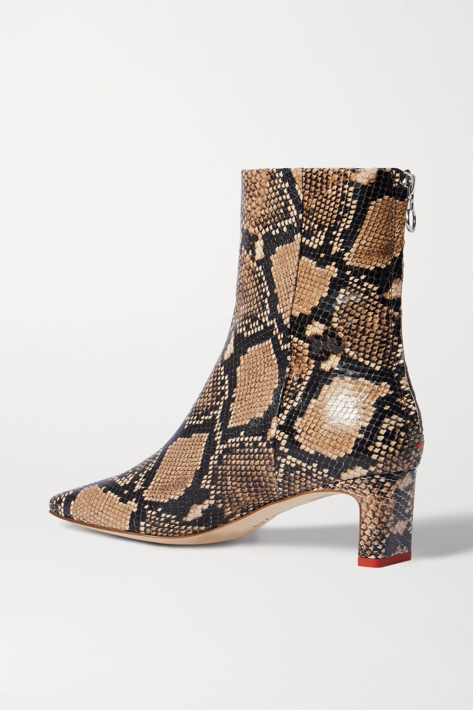 aeyde Ivy snake-effect leather ankle boots
