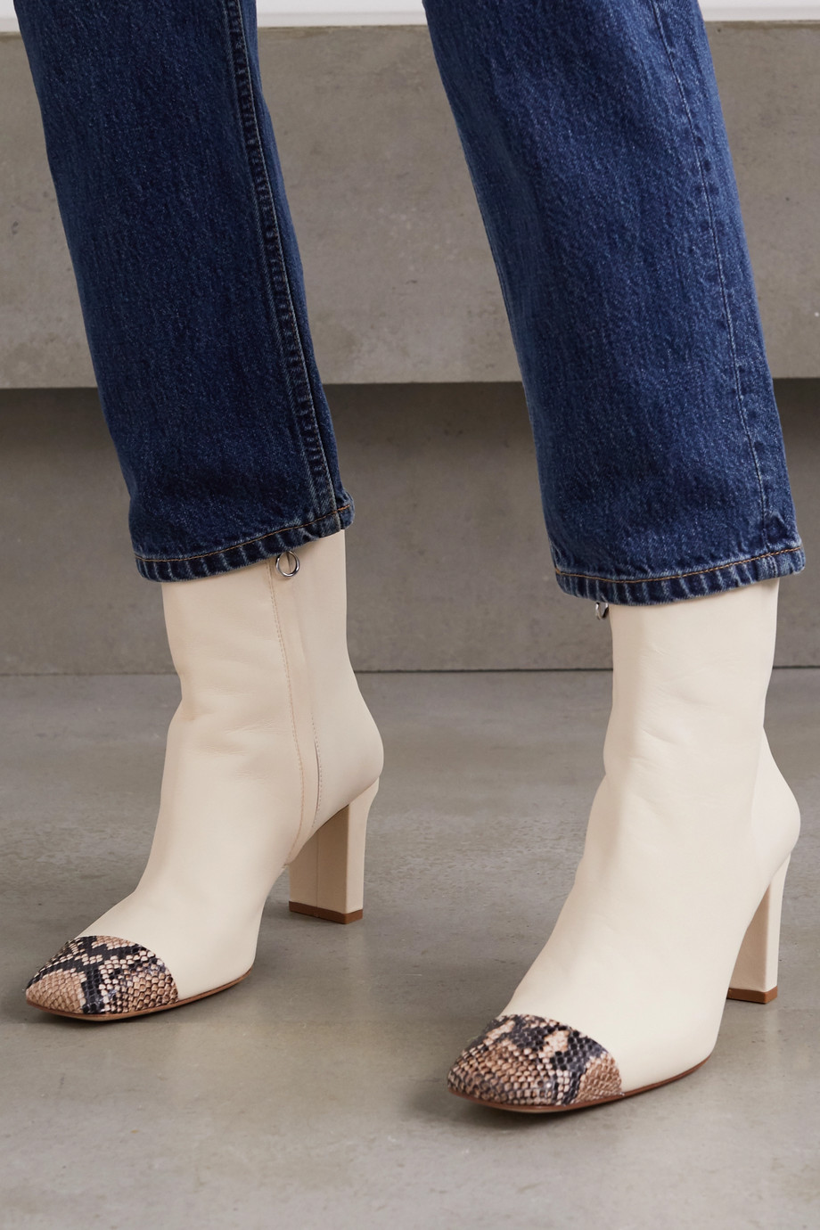 aeyde Belle snake-effect and smooth leather ankle boots