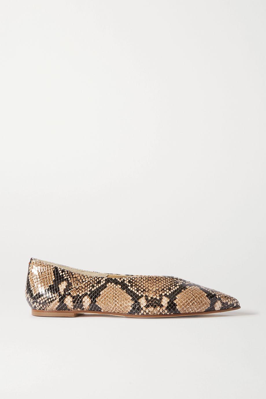 aeydē Moa snake-effect leather point-toe flats